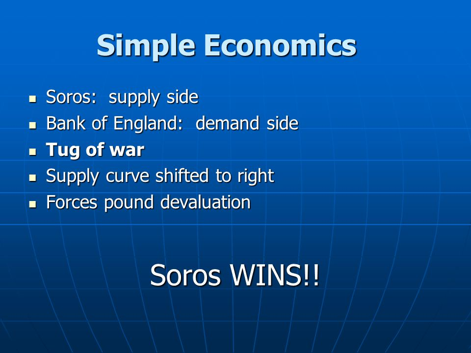 Simple Economics Soros: supply side Soros: supply side Bank of England: demand side Bank of England: demand side Tug of war Tug of war Supply curve sh