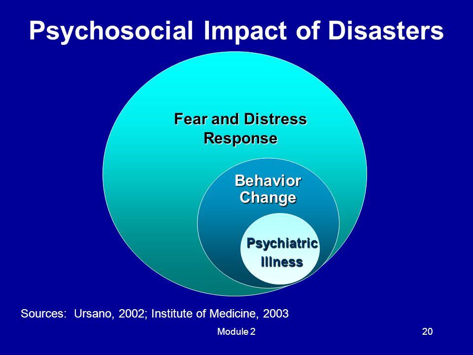 Module 220 Psychosocial Impact of Disasters E E Fear and Distress Response Behavior Change PsychiatricIllness Sources: Ursano, 2002; Institute of Medicine, 2003