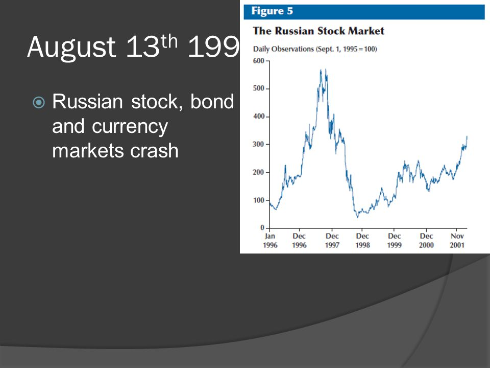 August 13 th 1998  Russian stock, bond and currency markets crash