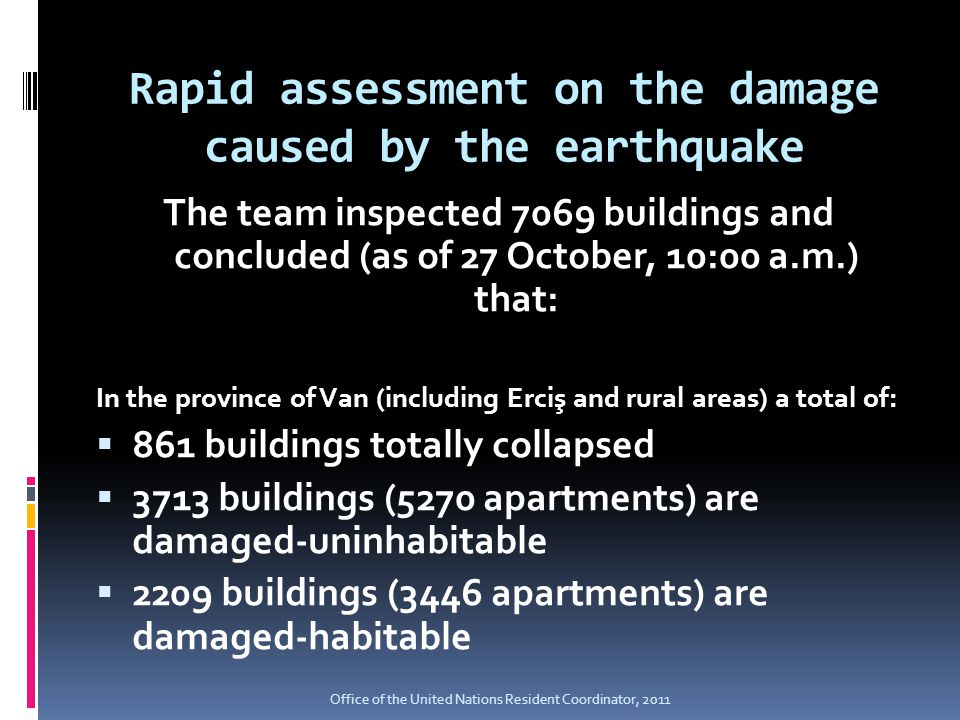 Rapid assessment on the damage caused by the earthquake The team inspected 7069 buildings and concluded (as of 27 October, 10:00 a.m.) that: In the province of Van (including Erciş and rural areas) a total of:  861 buildings totally collapsed  3713 buildings (5270 apartments) are damaged-uninhabitable  2209 buildings (3446 apartments) are damaged-habitable Office of the United Nations Resident Coordinator, 2011