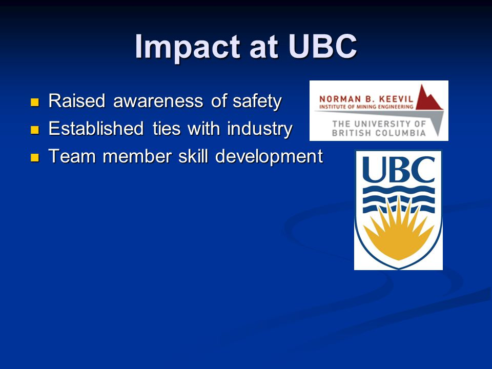 Impact at UBC Raised awareness of safety Raised awareness of safety Established ties with industry Established ties with industry Team member skill development Team member skill development