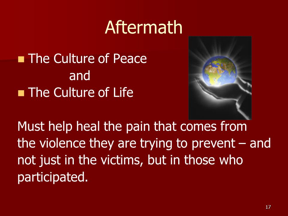 Aftermath The Culture of Peace and The Culture of Life Must help heal the pain that comes from the violence they are trying to prevent – and not just in the victims, but in those who participated.