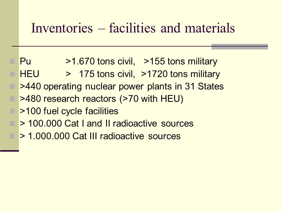 Inventories – facilities and materials Pu >1.670 tons civil, >155 tons military HEU> 175 tons civil, >1720 tons military >440 operating nuclear power plants in 31 States >480 research reactors (>70 with HEU) >100 fuel cycle facilities > 100.000 Cat I and II radioactive sources > 1.000.000 Cat III radioactive sources