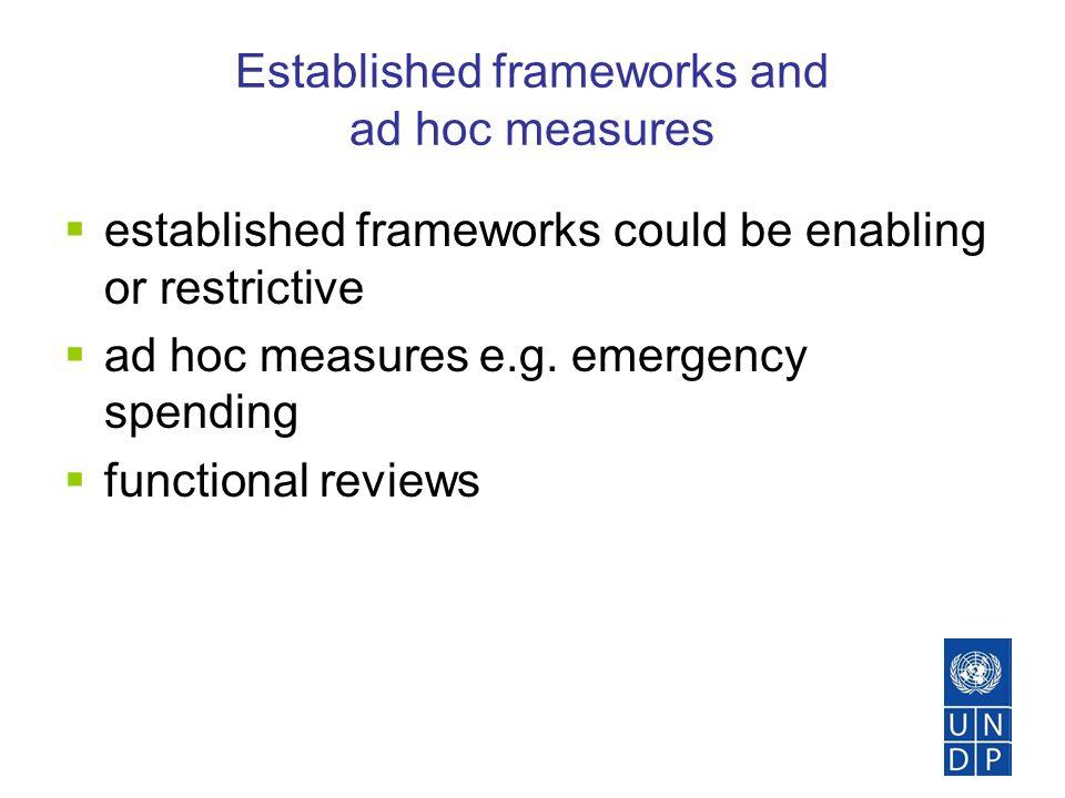 Established frameworks and ad hoc measures  established frameworks could be enabling or restrictive  ad hoc measures e.g.