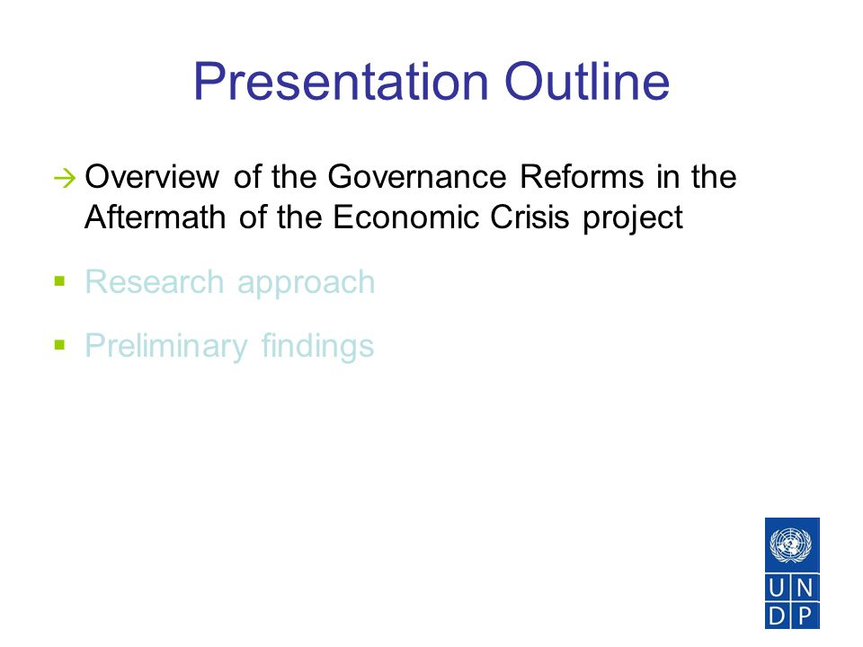 Governance Reforms in the Aftermath of the Economic Crisis  Aim: To develop research on crisis responses from a governance perspective and support policy debates to outline a new governance reform agenda for Eastern Europe and the former Soviet states, during and post- economic crisis.