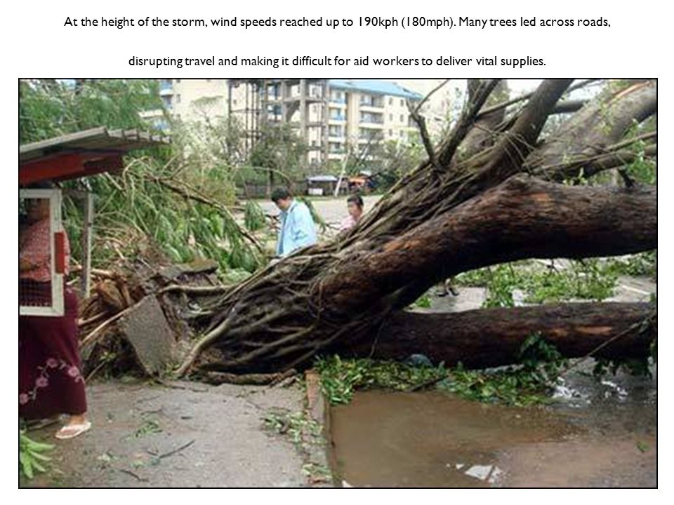 At the height of the storm, wind speeds reached up to 190kph (180mph).