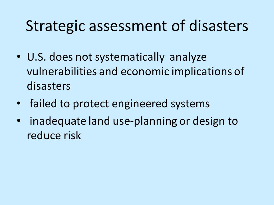 Strategic assessment of disasters U.S.