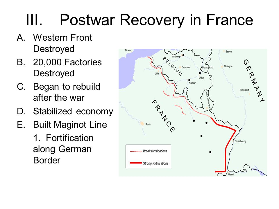 III.Postwar Recovery in France A.Western Front Destroyed B.20,000 Factories Destroyed C.Began to rebuild after the war D.Stabilized economy E.Built Maginot Line 1.