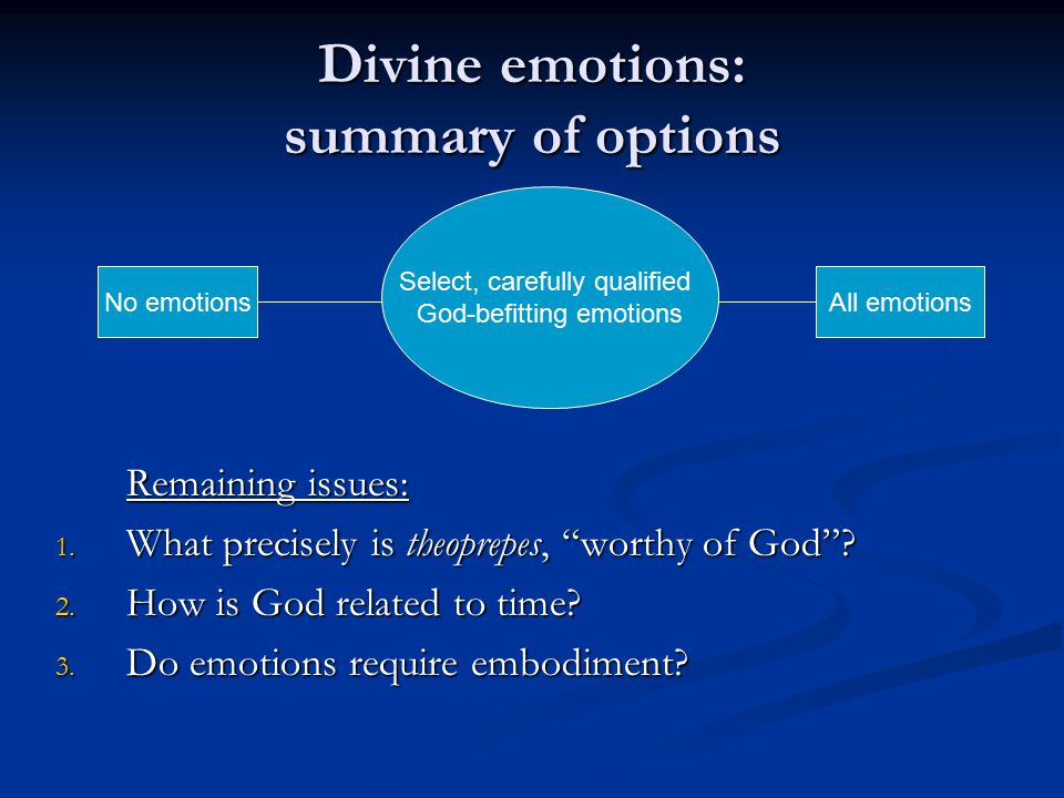 Divine emotions: summary of options Remaining issues: 1.