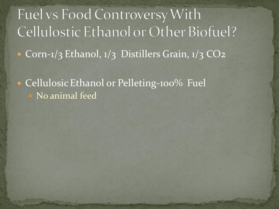 Corn-1/3 Ethanol, 1/3 Distillers Grain, 1/3 CO2 Cellulosic Ethanol or Pelleting-100% Fuel No animal feed