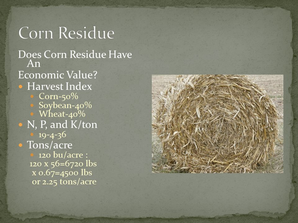 Corn Residue has economic value-$70/acre Baling another $12/bale or $45/acre.