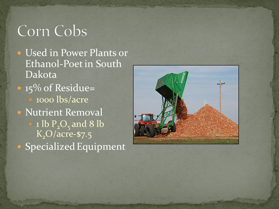 Used in Power Plants or Ethanol-Poet in South Dakota 15% of Residue= 1000 lbs/acre Nutrient Removal 1 lb P 2 O 5 and 8 lb K 2 O/acre-$7.5 Specialized Equipment