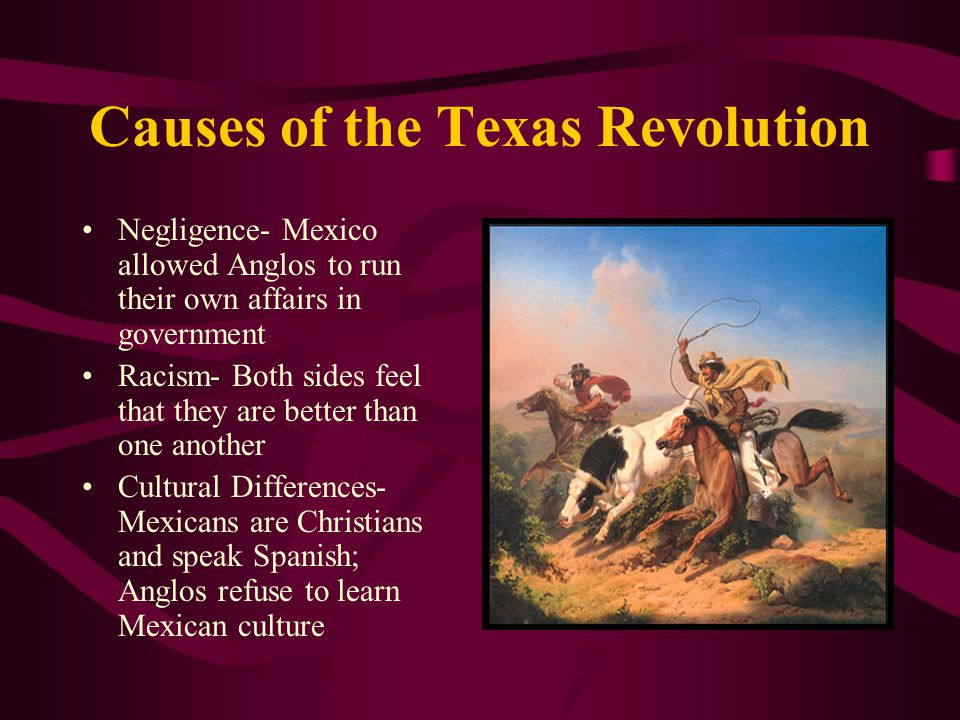 Causes of the Texas Revolution Negligence- Mexico allowed Anglos to run their own affairs in government Racism- Both sides feel that they are better t