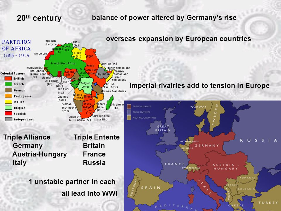 20 th century balance of power altered by Germany's rise overseas expansion by European countries imperial rivalries add to tension in Europe Triple Alliance Germany Austria-Hungary Italy Triple Entente Britain France Russia 1 unstable partner in each all lead into WWI