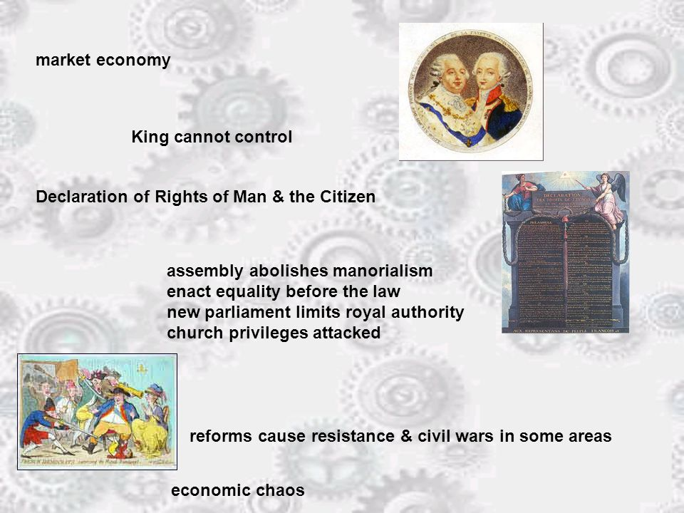 market economy King cannot control Declaration of Rights of Man & the Citizen assembly abolishes manorialism enact equality before the law new parliament limits royal authority church privileges attacked reforms cause resistance & civil wars in some areas economic chaos
