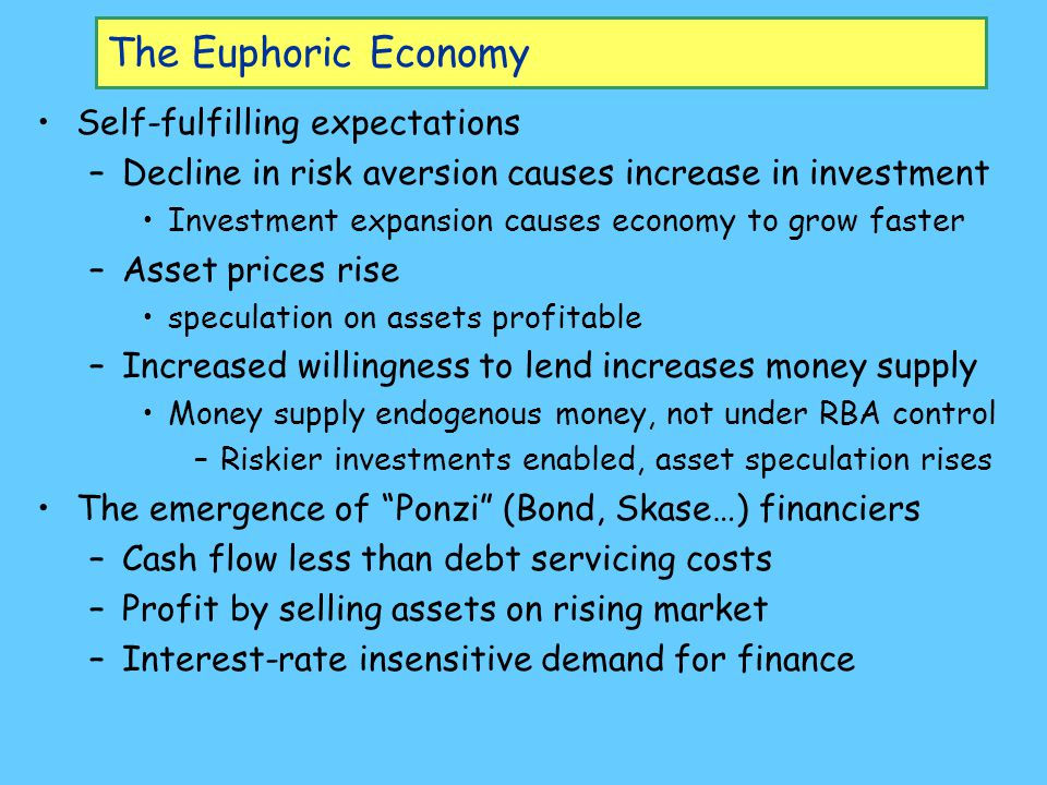 The Euphoric Economy Self-fulfilling expectations –Decline in risk aversion causes increase in investment Investment expansion causes economy to grow faster –Asset prices rise speculation on assets profitable –Increased willingness to lend increases money supply Money supply endogenous money, not under RBA control –Riskier investments enabled, asset speculation rises The emergence of Ponzi (Bond, Skase…) financiers –Cash flow less than debt servicing costs –Profit by selling assets on rising market –Interest-rate insensitive demand for finance