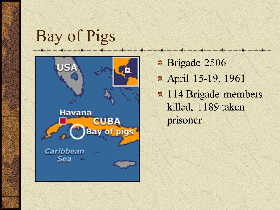 Bay of Pigs Brigade 2506 April 15-19, 1961 114 Brigade members killed, 1189 taken prisoner