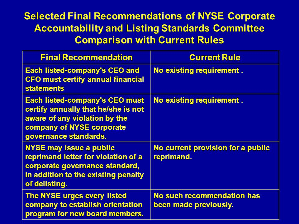 Selected Final Recommendations of NYSE Corporate Accountability and Listing Standards Committee Comparison with Current Rules Final RecommendationCurrent Rule Each listed-company s CEO and CFO must certify annual financial statements No existing requirement.