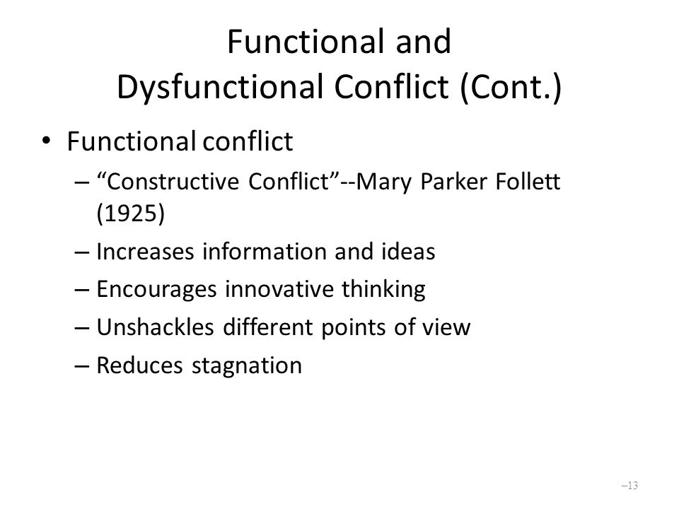 Functional and Dysfunctional Conflict (Cont.) Functional conflict – Constructive Conflict --Mary Parker Follett (1925) – Increases information and ideas – Encourages innovative thinking – Unshackles different points of view – Reduces stagnation – 13