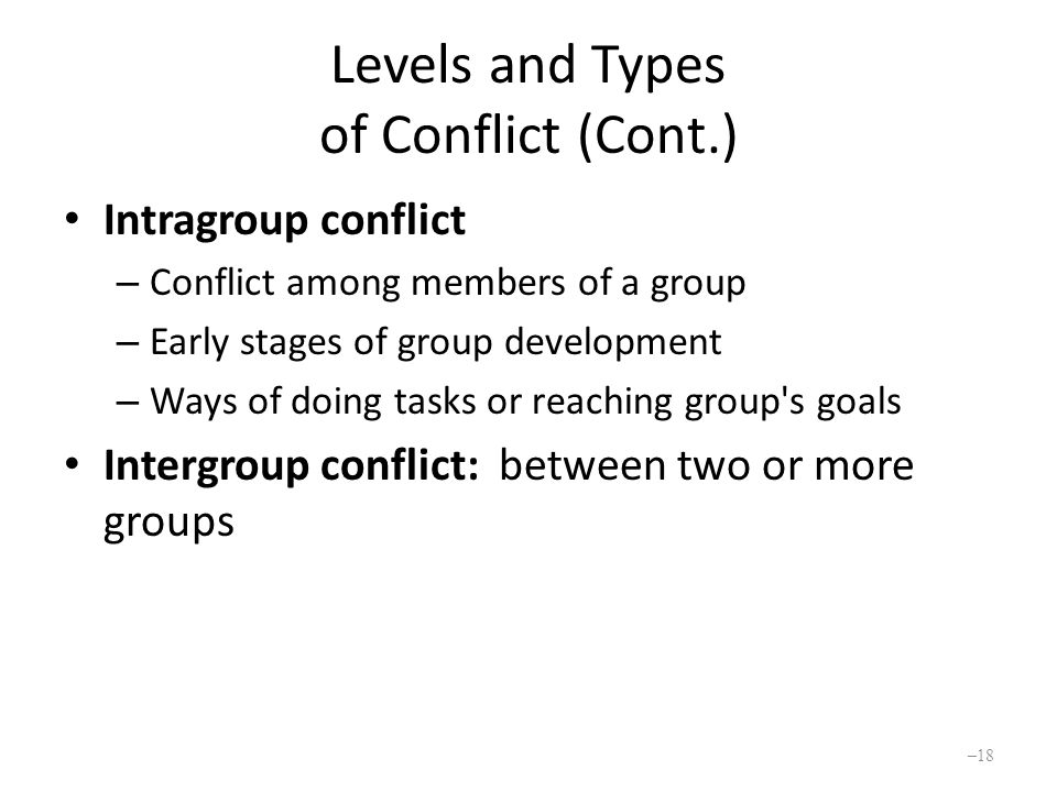 Levels and Types of Conflict (Cont.) Intragroup conflict – Conflict among members of a group – Early stages of group development – Ways of doing tasks or reaching group s goals Intergroup conflict: between two or more groups – 18