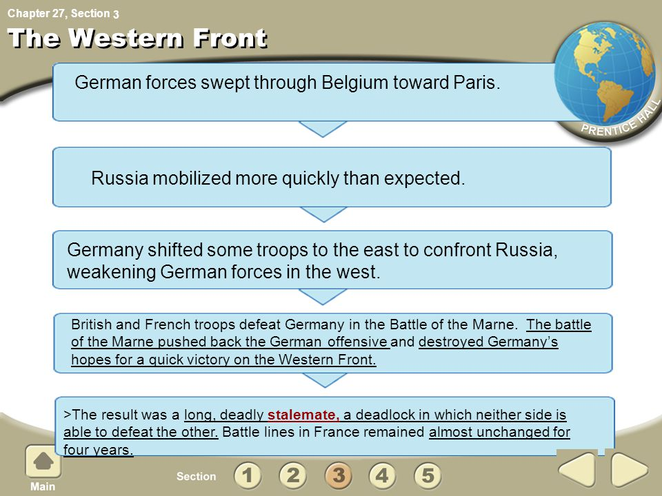 Chapter 27, Section The Western Front German forces swept through Belgium toward Paris.