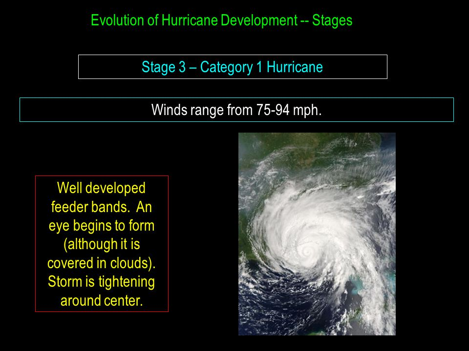 Evolution of Hurricane Development -- Stages Stage 3 – Category 1 Hurricane Winds range from 75-94 mph. Well developed feeder bands. An eye begins to