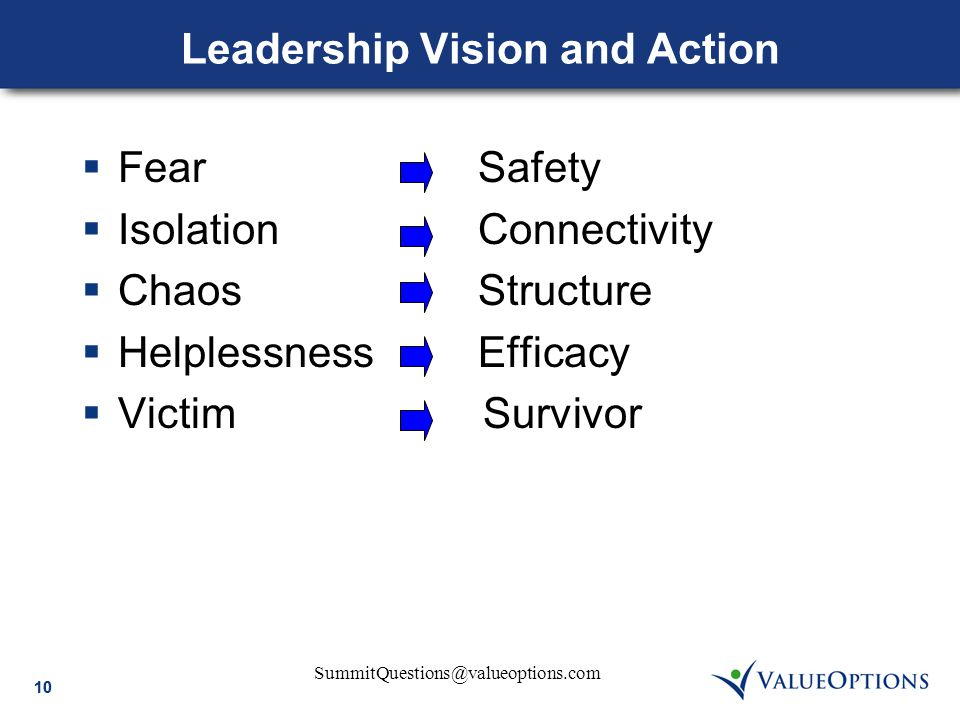 SummitQuestions@valueoptions.com 10 Leadership Vision and Action  Fear Safety  Isolation Connectivity  Chaos Structure  Helplessness Efficacy  Victim Survivor