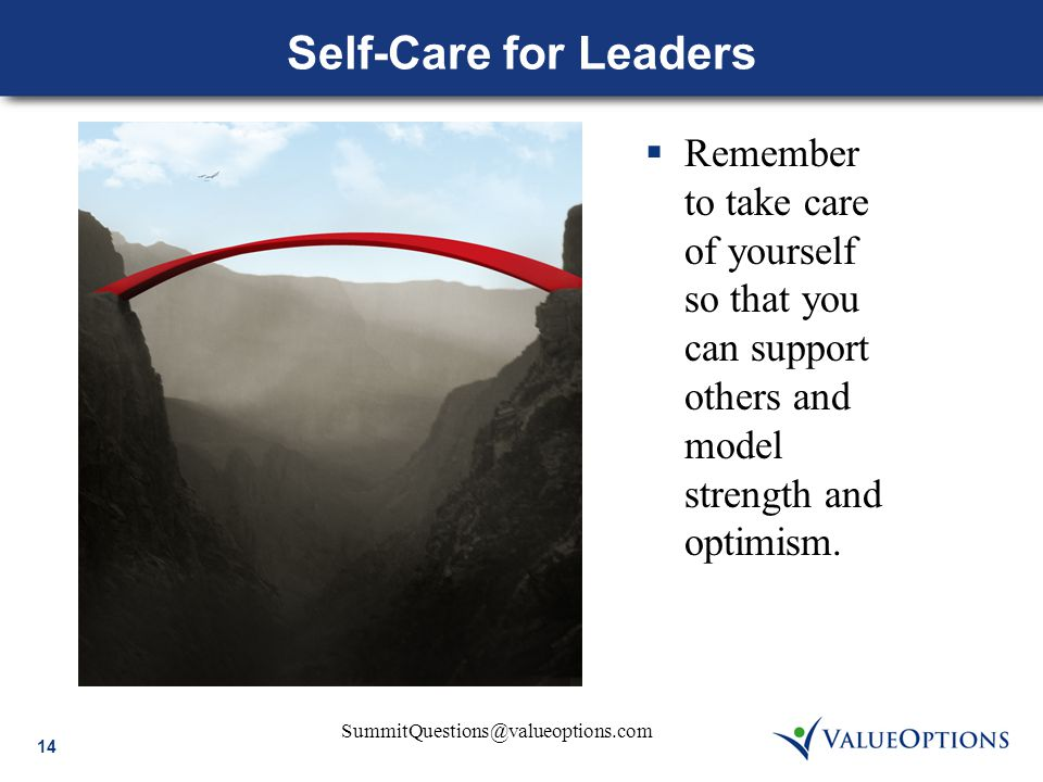 SummitQuestions@valueoptions.com 14 Self-Care for Leaders  Remember to take care of yourself so that you can support others and model strength and optimism.