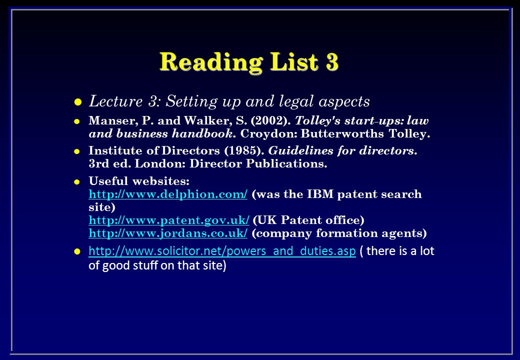 Reading List 3 l Lecture 3: Setting up and legal aspects l Manser, P.