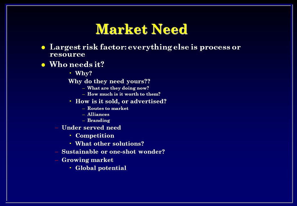 Market Need l Largest risk factor: everything else is process or resource l Who needs it.