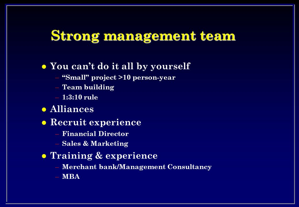 Strong management team l You can't do it all by yourself – Small project >10 person-year – Team building – 1:3:10 rule l Alliances l Recruit experience – Financial Director – Sales & Marketing l Training & experience – Merchant bank/Management Consultancy – MBA