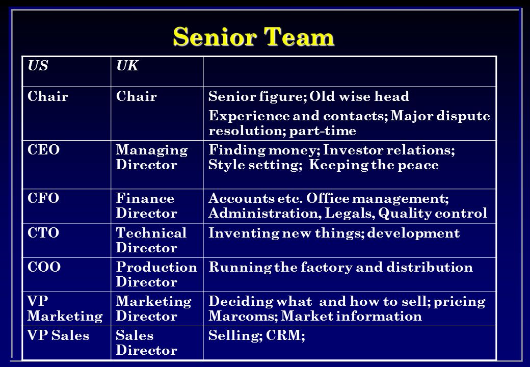 Senior Team USUK Chair Senior figure; Old wise head Experience and contacts; Major dispute resolution; part-time CEOManaging Director Finding money; Investor relations; Style setting; Keeping the peace CFOFinance Director Accounts etc.