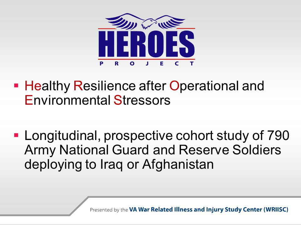  Healthy Resilience after Operational and Environmental Stressors  Longitudinal, prospective cohort study of 790 Army National Guard and Reserve Soldiers deploying to Iraq or Afghanistan