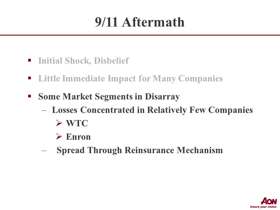  Initial Shock, Disbelief  Little Immediate Impact for Many Companies  Some Market Segments in Disarray –Losses Concentrated in Relatively Few Companies  WTC  Enron – Spread Through Reinsurance Mechanism 9/11 Aftermath