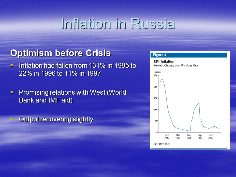 Inflation in Russia Optimism before Crisis  Inflation had fallen from 131% in 1995 to 22% in 1996 to 11% in 1997  Promising relations with West (Wor