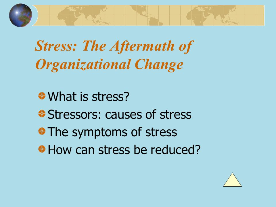 Stress: The Aftermath of Organizational Change What is stress? Stressors: causes of stress The symptoms of stress How can stress be reduced?