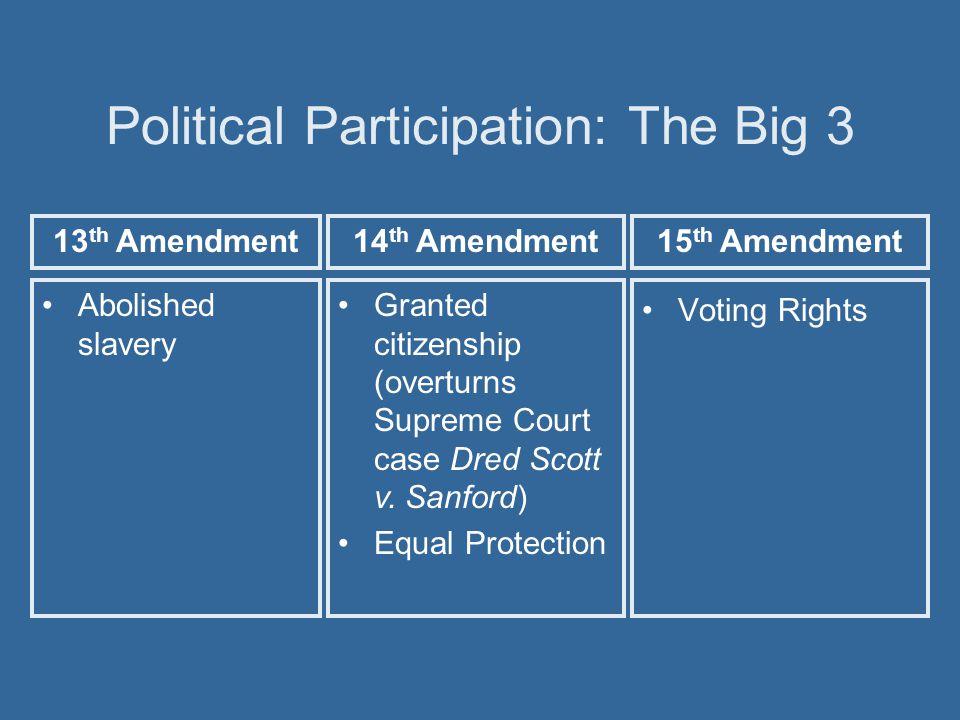Political Participation: The Big 3 Abolished slavery Voting Rights Granted citizenship (overturns Supreme Court case Dred Scott v. Sanford) Equal Prot
