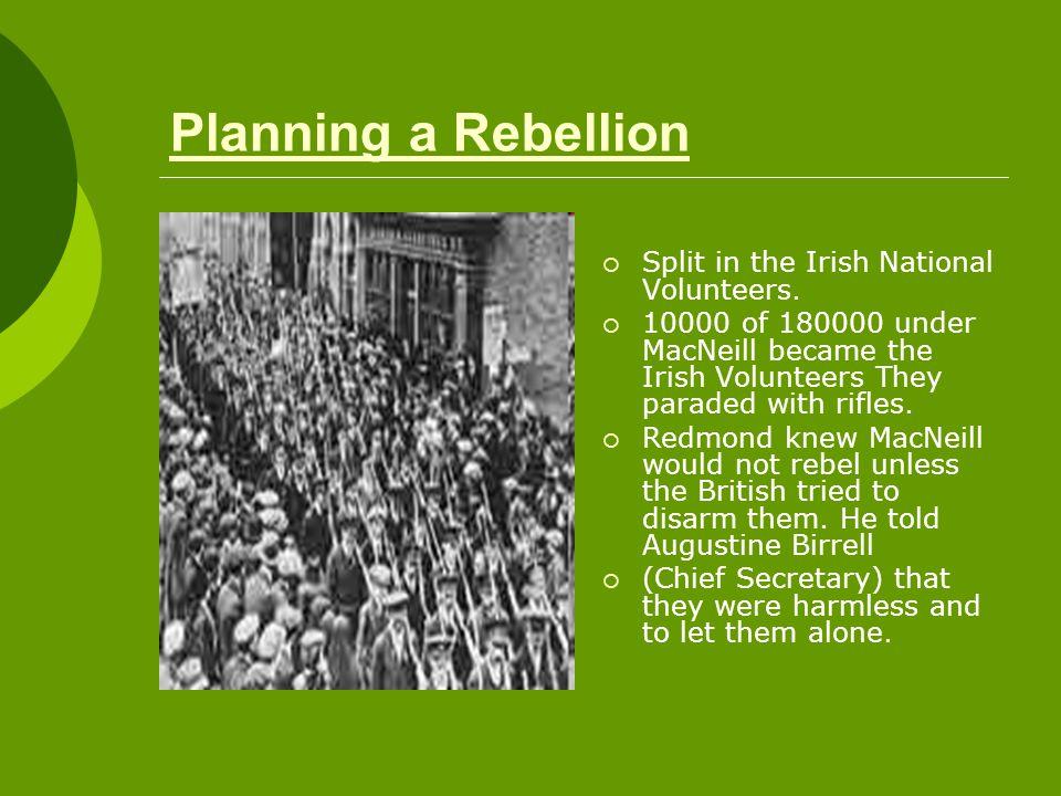 Planning a Rebellion  Split in the Irish National Volunteers.