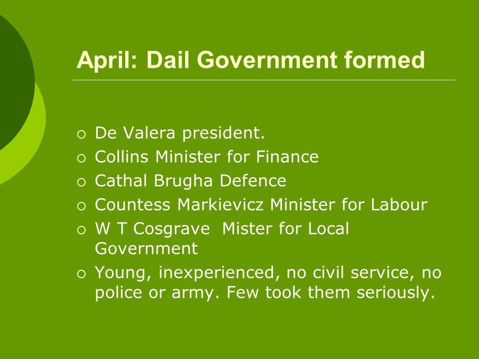 April: Dail Government formed  De Valera president.