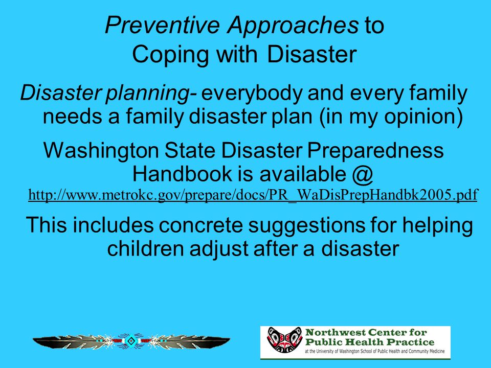 Preventive Approaches to Coping with Disaster Disaster planning- everybody and every family needs a family disaster plan (in my opinion) Washington State Disaster Preparedness Handbook is available @ http://www.metrokc.gov/prepare/docs/PR_WaDisPrepHandbk2005.pdf This includes concrete suggestions for helping children adjust after a disaster