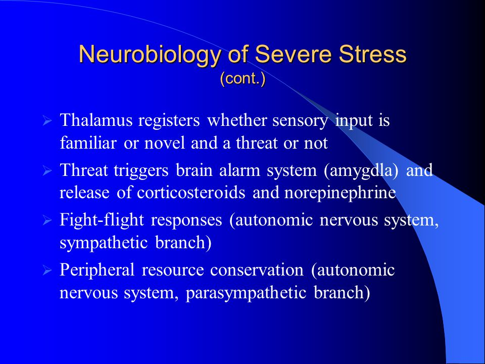 Neurobiology of Severe Stress (cont.)  Thalamus registers whether sensory input is familiar or novel and a threat or not  Threat triggers brain alarm system (amygdla) and release of corticosteroids and norepinephrine  Fight-flight responses (autonomic nervous system, sympathetic branch)  Peripheral resource conservation (autonomic nervous system, parasympathetic branch)
