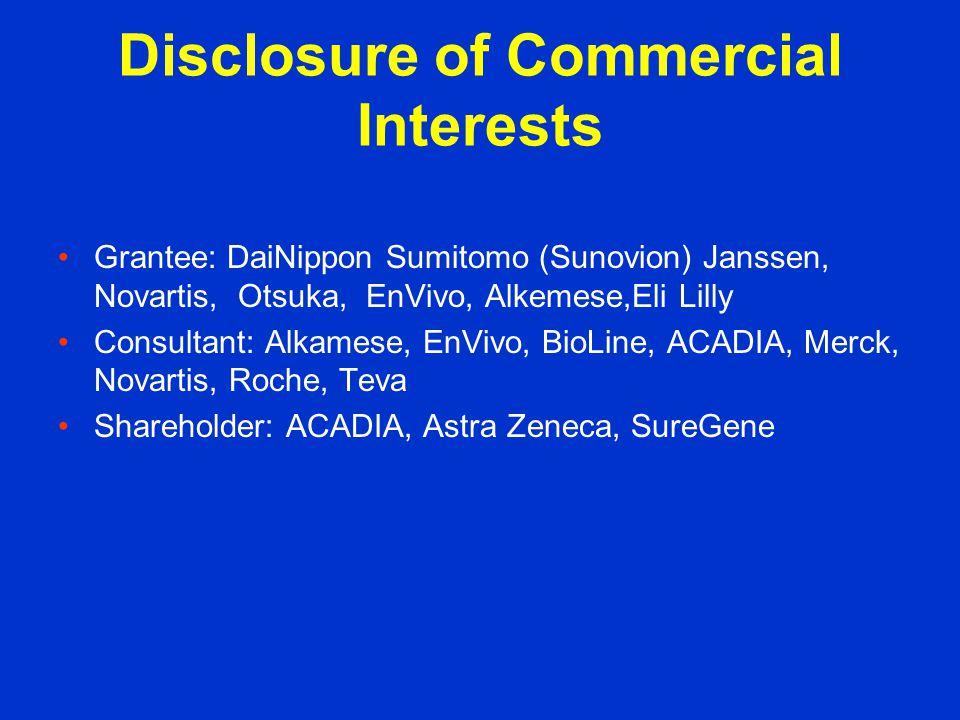 Disclosure of Commercial Interests Grantee: DaiNippon Sumitomo (Sunovion) Janssen, Novartis, Otsuka, EnVivo, Alkemese,Eli Lilly Consultant: Alkamese, EnVivo, BioLine, ACADIA, Merck, Novartis, Roche, Teva Shareholder: ACADIA, Astra Zeneca, SureGene