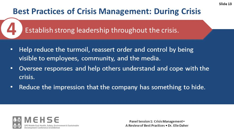 Slide 13 Panel Session 1: Crisis Management A Review of Best Practices Dr.