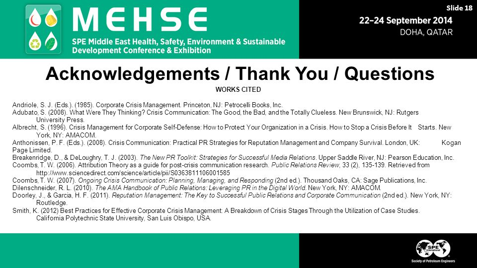 Acknowledgements / Thank You / Questions WORKS CITED Andriole, S.
