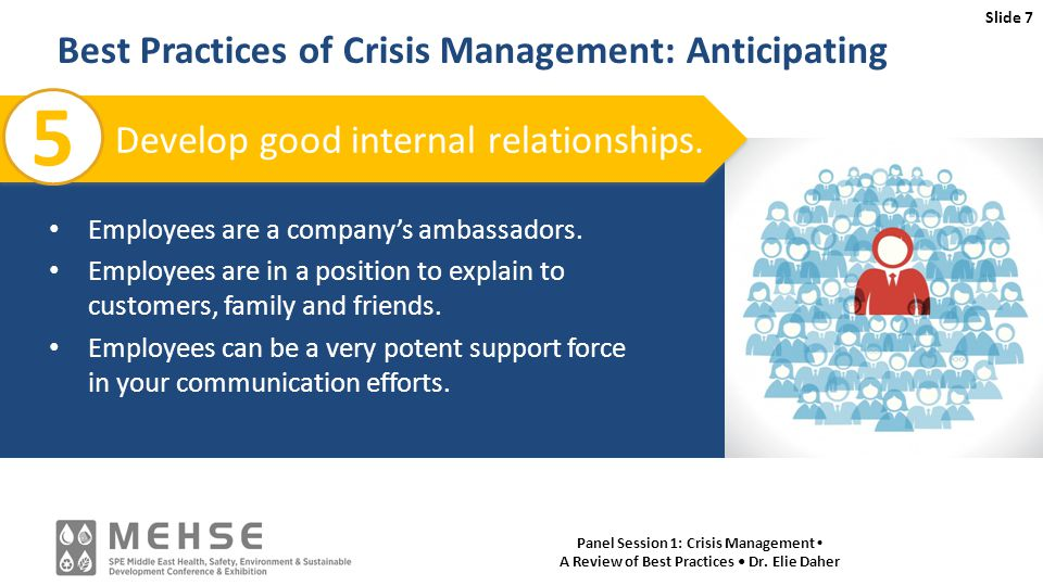 Slide 7 Panel Session 1: Crisis Management A Review of Best Practices Dr.