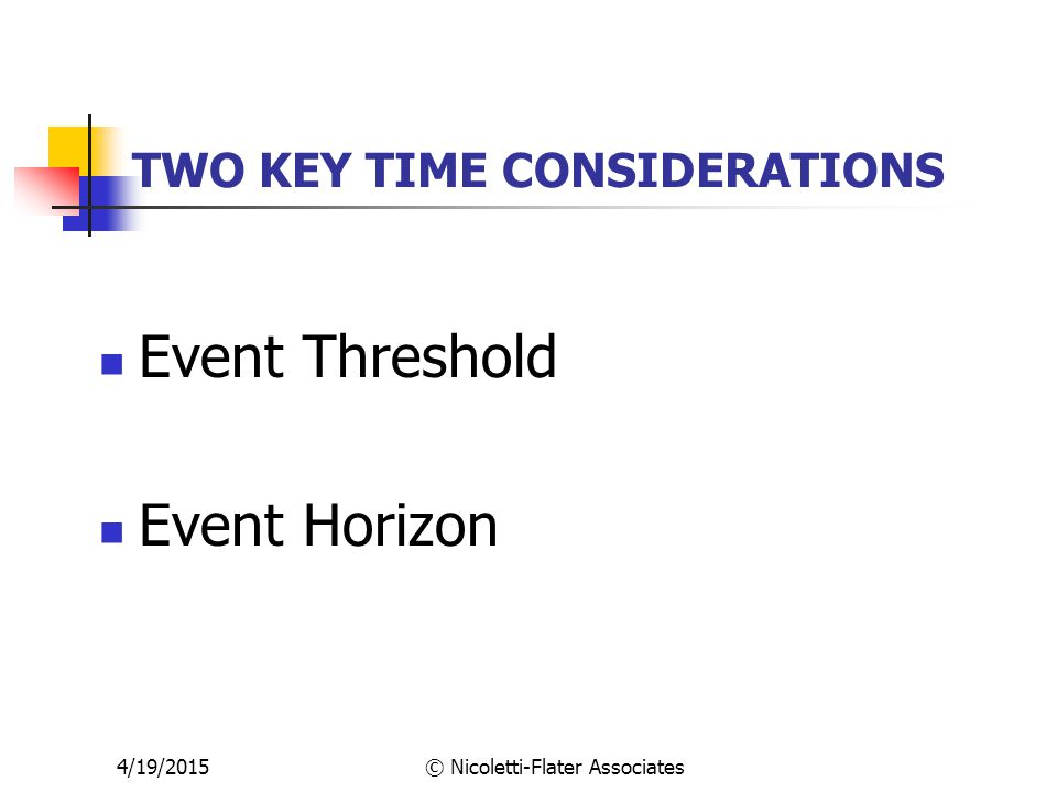 4/19/2015© Nicoletti-Flater Associates TWO KEY TIME CONSIDERATIONS Event Threshold Event Horizon