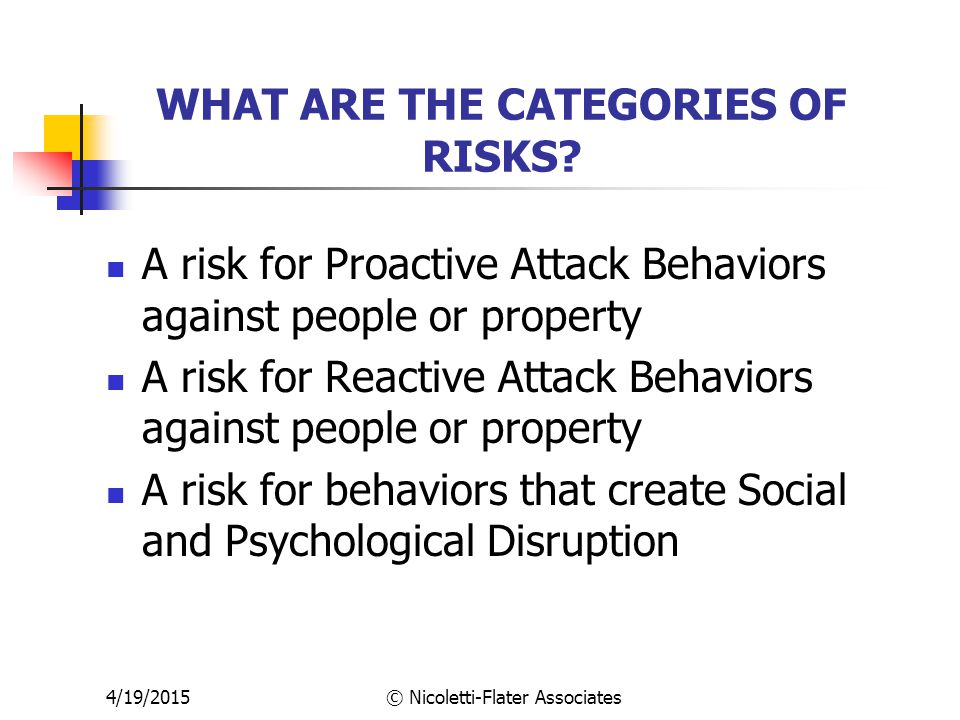 4/19/2015© Nicoletti-Flater Associates WHAT ARE THE CATEGORIES OF RISKS.