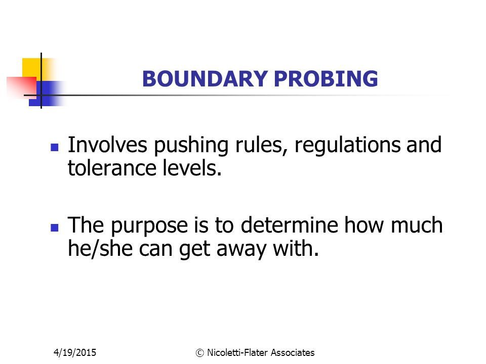 4/19/2015© Nicoletti-Flater Associates BOUNDARY PROBING Involves pushing rules, regulations and tolerance levels.