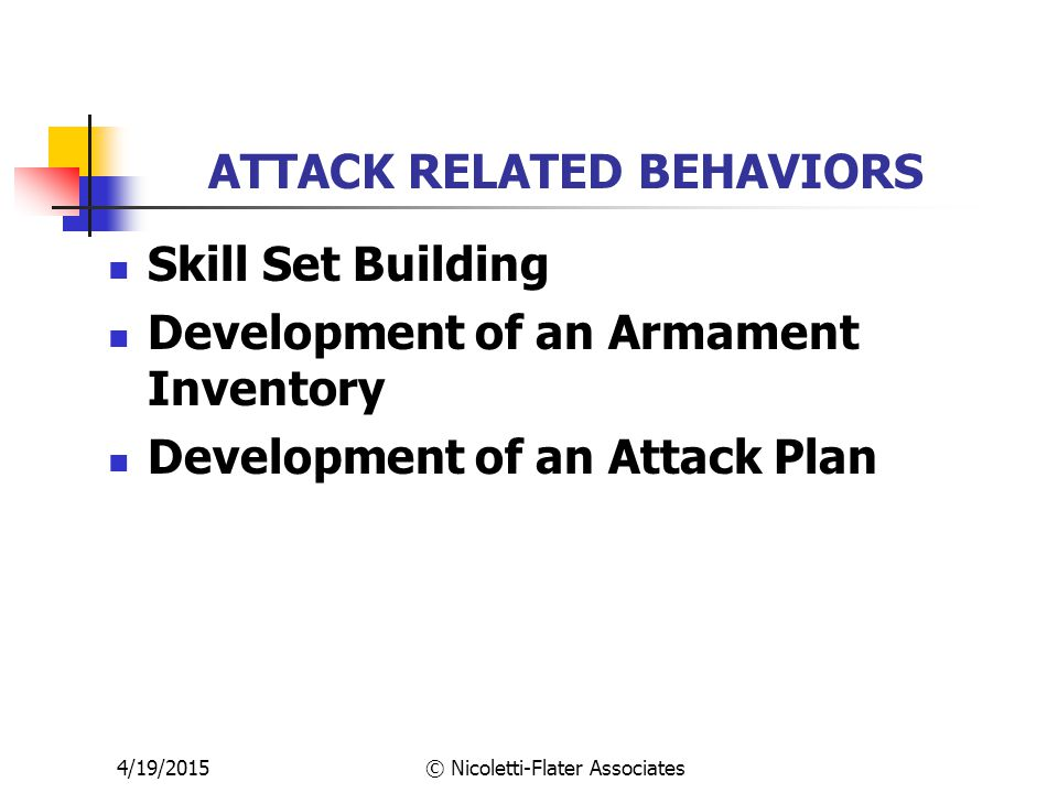 4/19/2015© Nicoletti-Flater Associates ATTACK RELATED BEHAVIORS Skill Set Building Development of an Armament Inventory Development of an Attack Plan