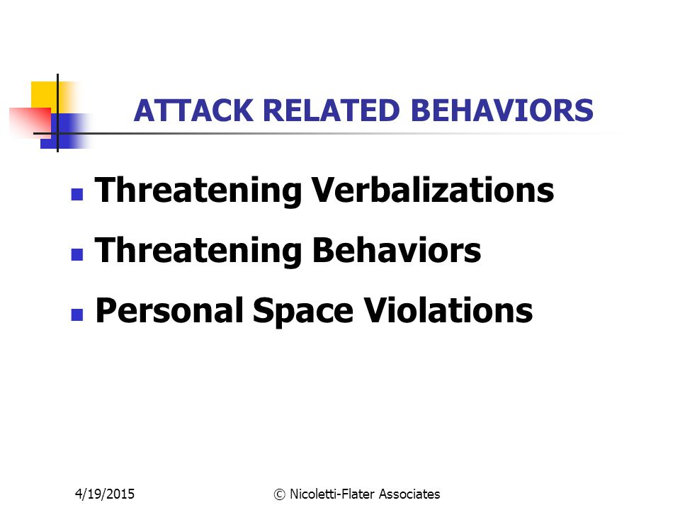 4/19/2015© Nicoletti-Flater Associates ATTACK RELATED BEHAVIORS Threatening Verbalizations Threatening Behaviors Personal Space Violations